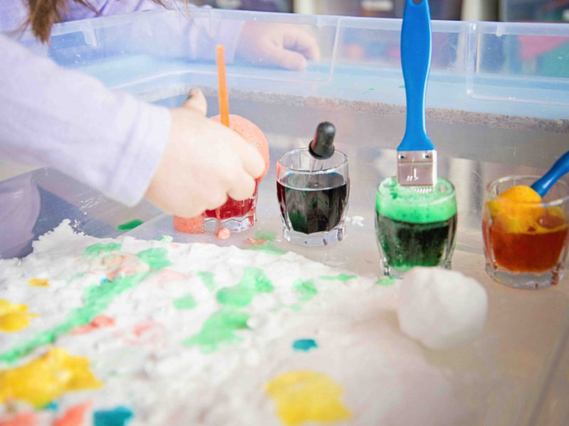 Fizzy Snow Dough Painting, one activity that combines science, art and sensory play with only THREE common ingredients!It was a huge hit!
