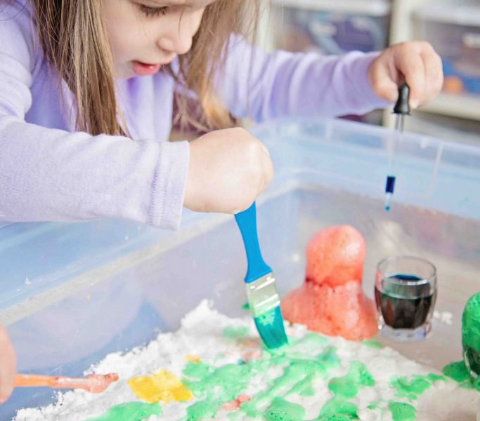 Fizzy Snow Dough Painting, one activity that combines science, art and sensory play with only THREE common ingredients!